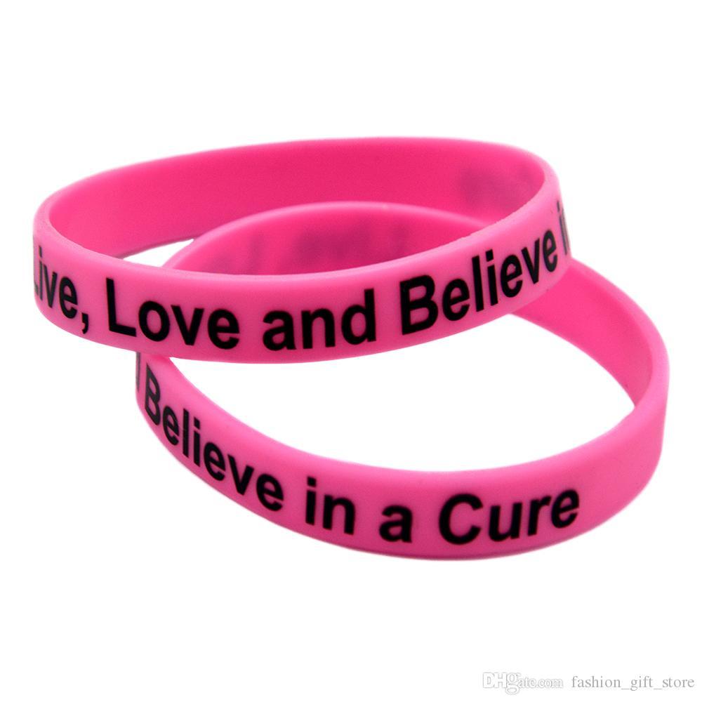 Amor ao vivo e acredite em uma cura pulseira de borracha de silicone impressa logotipo motivacional tamanho adulto rosa