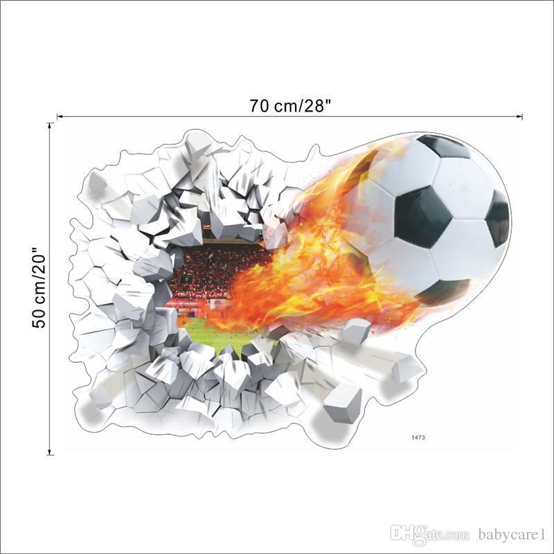 Fútbol de despedida a través de pegatinas de pared decoración de la habitación de los niños. casa calcomanías fútbol funs 3d mural arte deporte juego pvc poster 5.0