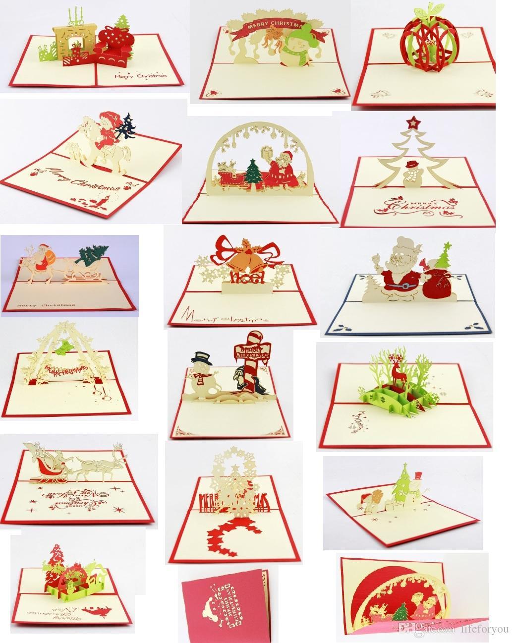 wholesale 3d biglietto di auguri biglietto di auguri di Natale decorazioni natalizie pop-up biglietto di auguri, 16 elementi misti lotto