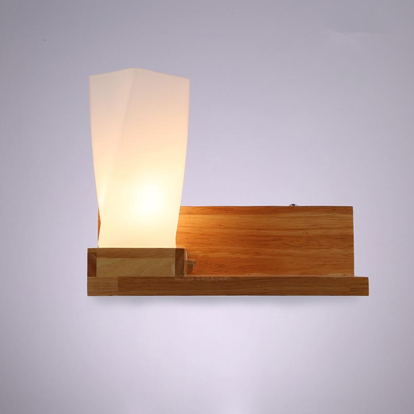 Modern Wood Glass Wall Lamps Bedroom Bedside Wall Lights Bathroom Kitchen Wall Sconces Light Fixtures Home Decor Luminaire