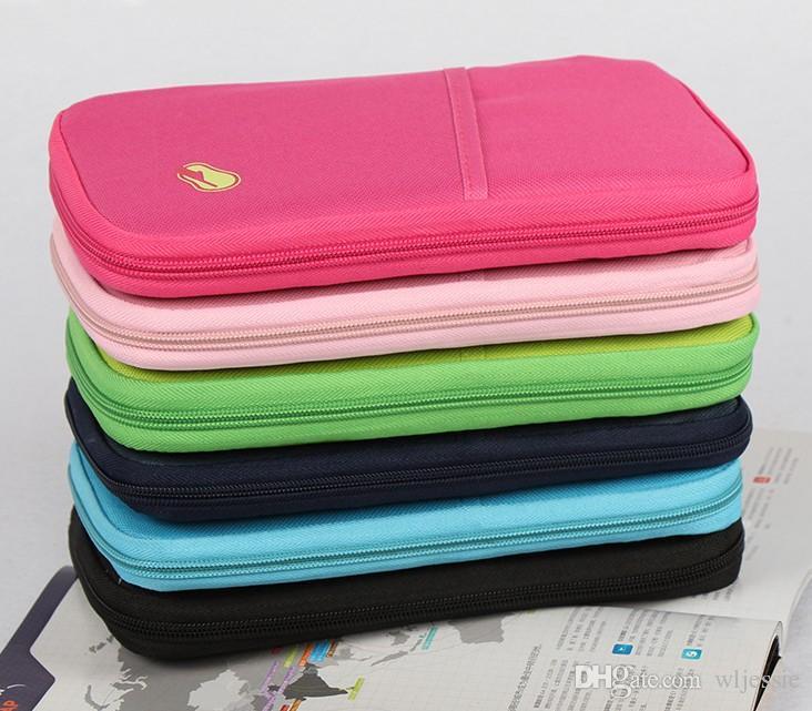 6 couleurs mode Voyage ensemble nylon homme marque ID passeport titulaire carte de crédit organisateur sac femmes long voyage portefeuille, multifonctionnel sac à main