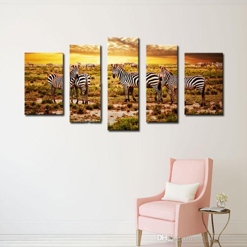 5 Picture Combination Wall Art Painting Picture Zebras herd on savanna at sunset Africa On Canvas For Living Room Decor
