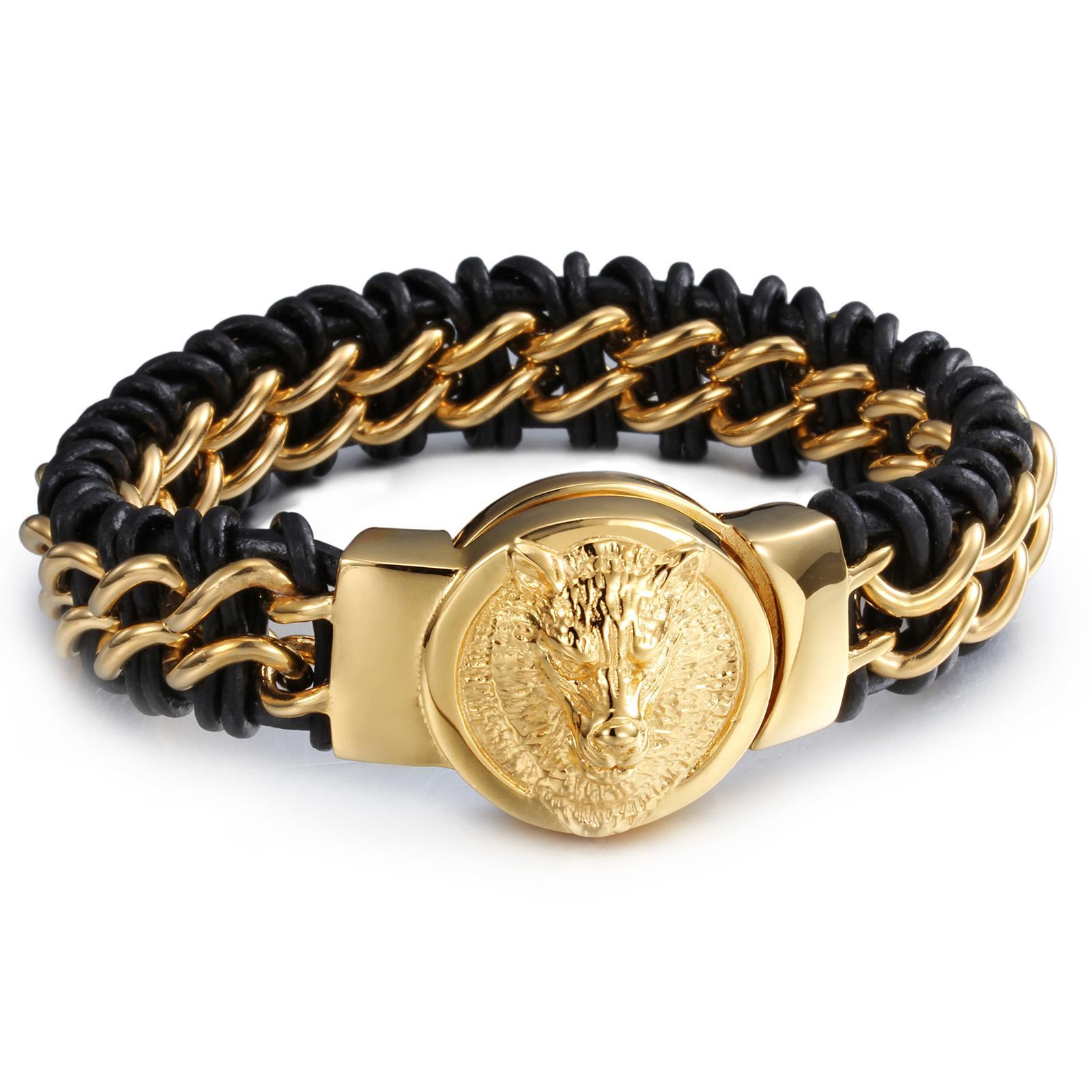 Hiphop New Punk Style 8.66'' 18mm Genuine Leather 316L Stainless Steel Biker Gold Wolf Head Design Men's Bracelet Bangle