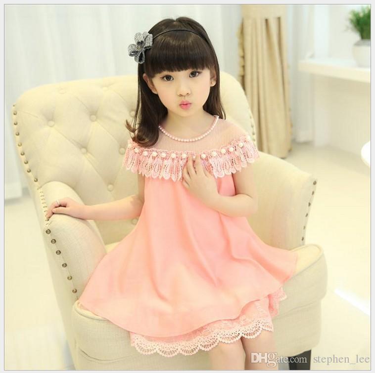 2018 빅 소녀 여름 레이스 공주 드레스 어린이 쉬폰 파티 드레스 어린이 의류 패션 소녀 레이스 드레스 3 색 110-160cm /