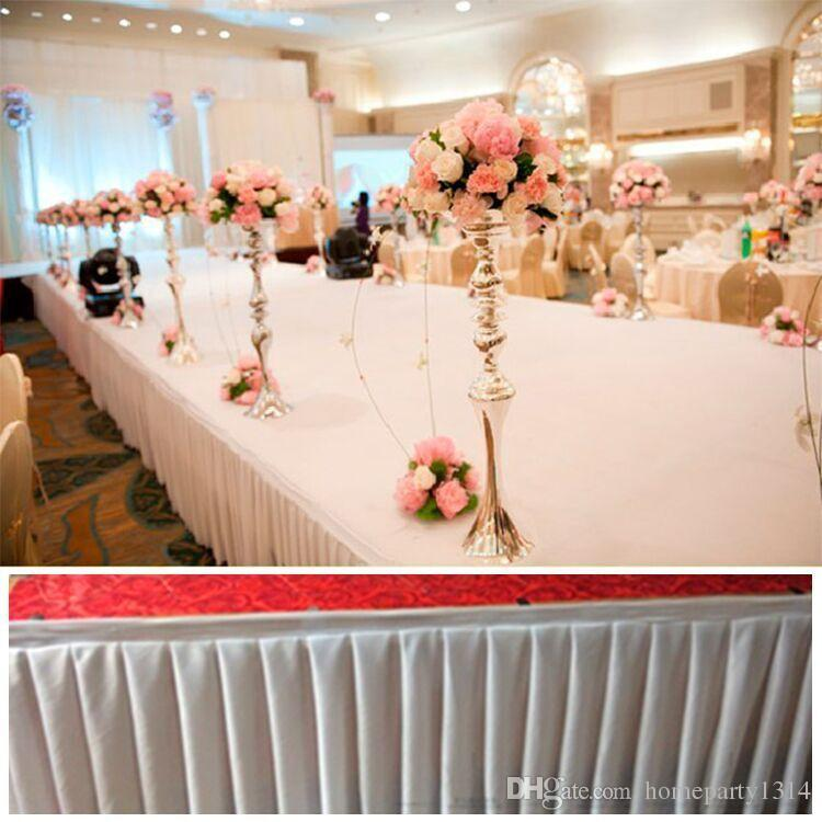 2018 Mode coloré glace table en soie jupes tissu coureur décoration de mariage table de Pew couvre hôtel événement long coureur décoration