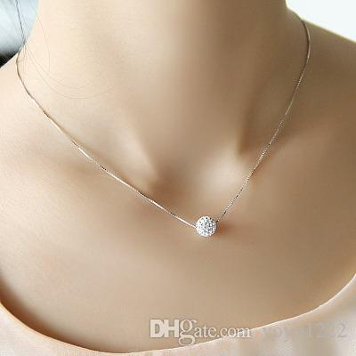 Wholesale s925 silver necklace female short design crystal shambhala wholesale s925 silver necklace female short design crystal shambhala ball chain elegant brief anti allergic small pendant necklaces pendant for necklace aloadofball Image collections