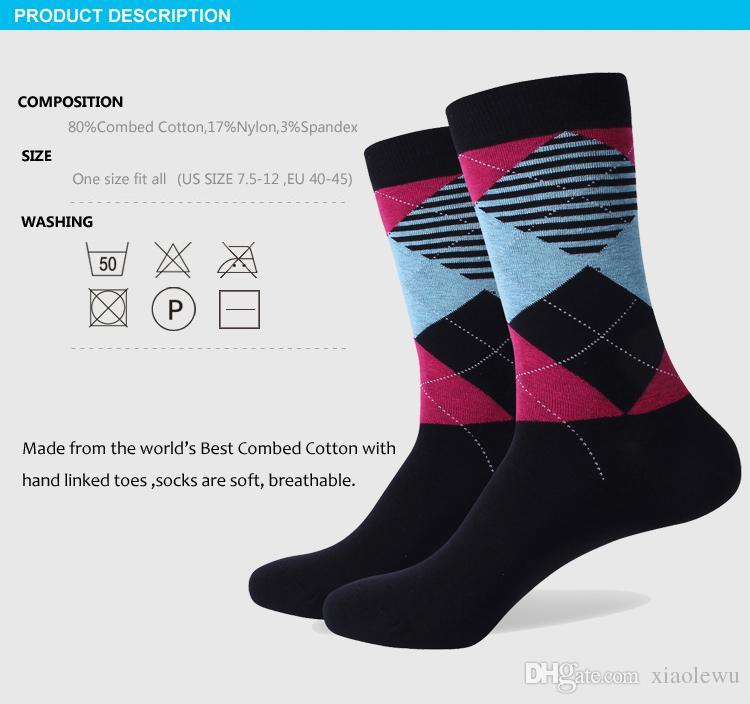 2016 erkek penye pamuklu marka erkek çorapları, renkli geometrik eğlence çorapları, ABD boyutu 7.5-12 321