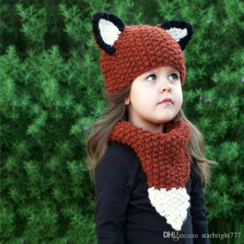 Compre Niños Fox Ear Beanie Scaves Fox Ganchillo Sombreros Envuelve ...