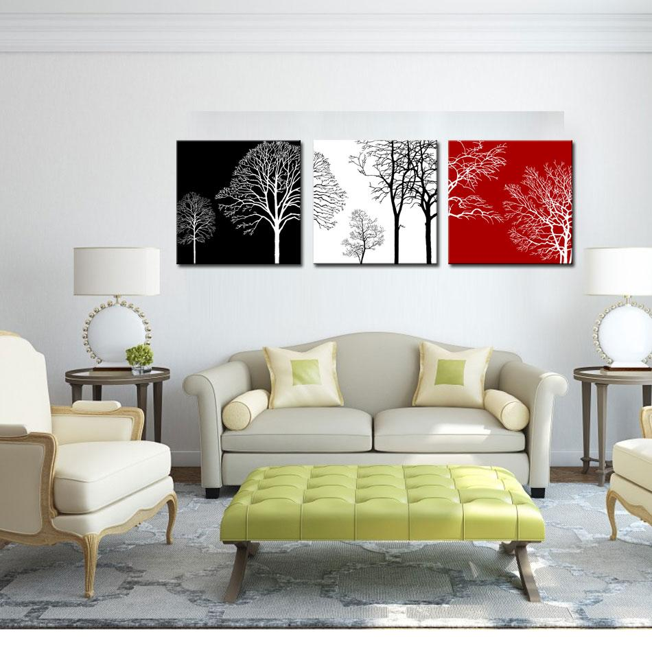Canvas Wall Art Painting Black White And Red Tree Picture Print on ...