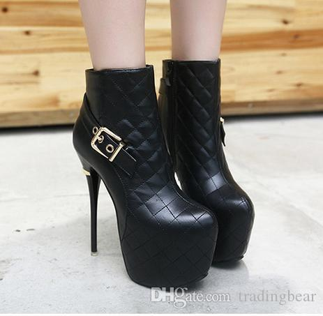 8653f33a177 16cm ultra high heel ankle boots black patent leather boots platform shoes  women Size 35 to 40