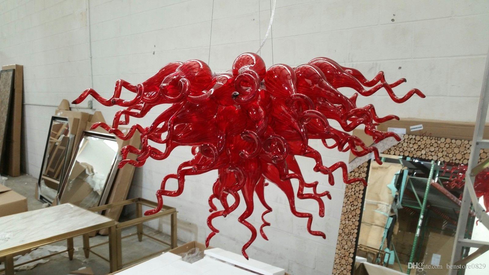Ev Villa Decor için% 100 El Yapımı Üflemeli Cam Modern Sanat Avize Kırmızı Murano Cam Tasarımcı Avize