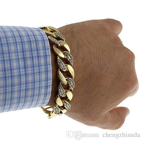 Buzlu Out Hip Hop CZ Bilezik Erkek Miami Küba Bilezik için 18 k Altın Gümüş Yüksek Kalite 7/8/9 inç