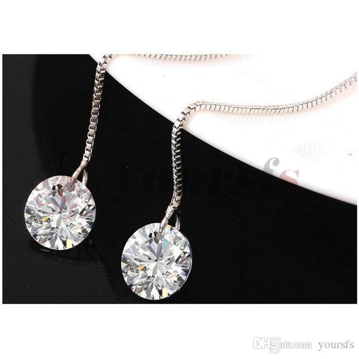 Yoursfs mode-threader dangle oorbellen met 1ct gesimuleerde diamant hanger