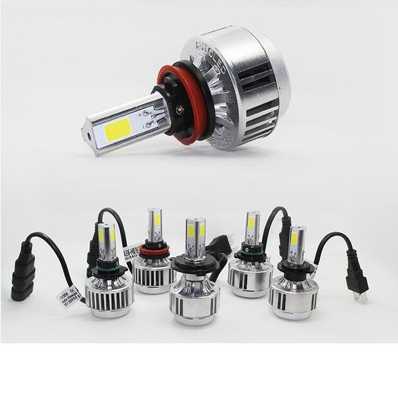 2018 3 sides car headlamps h7 led headlights bulbs 24w 12v cars cob chips head lamps 6000k white. Black Bedroom Furniture Sets. Home Design Ideas