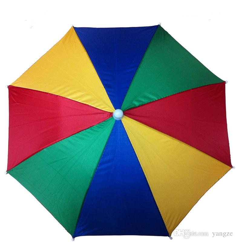 Factory Sale-Rainbow Umbrella Hat Cap Sun Shade Camping Fishing Hiking Festivals Outdoor Brolly