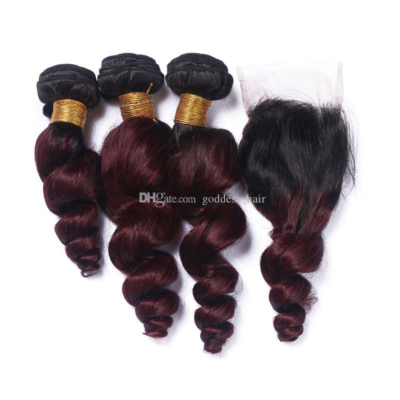 Ombre Color # 1B / 99J Paquetes de cabello de onda suelta con cierre de encaje con pelo de bebé Borde de encaje de color burdeos con rojo de vino 9A Extensiones de cabello