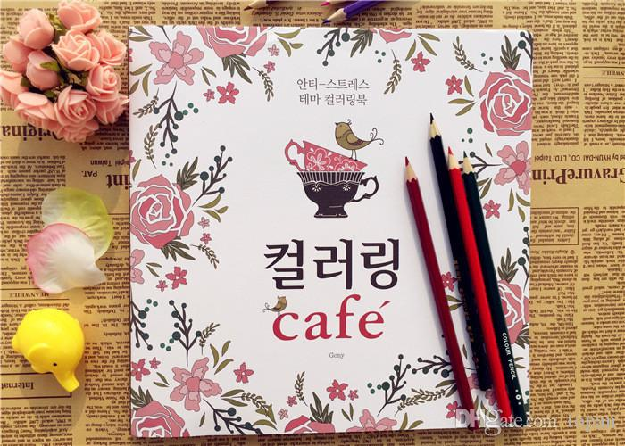 Cafe Coloring Books Secret Garden Book For Children Adult Relieve Stress Kill Time Graffiti Painting Drawing Dhl Fedex Free Color