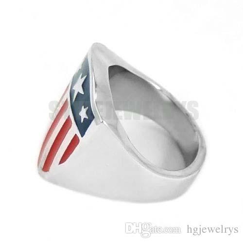 ! Captain America Shield Ring Stainless Steel Jewelry Fashion Pentagram Shield Motor Biker Ring Wholesale SWR0565AB