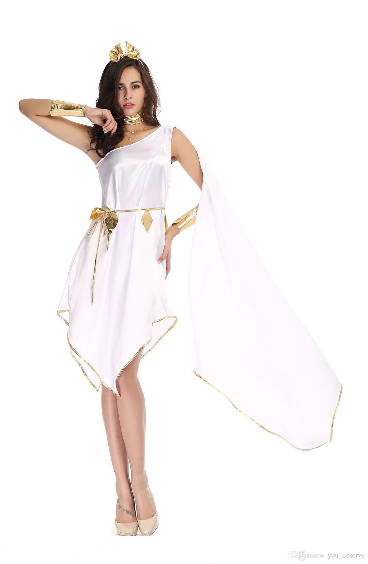 New Greek Goddess White Irregular Long Dresses Sexy Cosplay Halloween Costumes One-Shoulder Uniform Temptation Stage Performance Clothing
