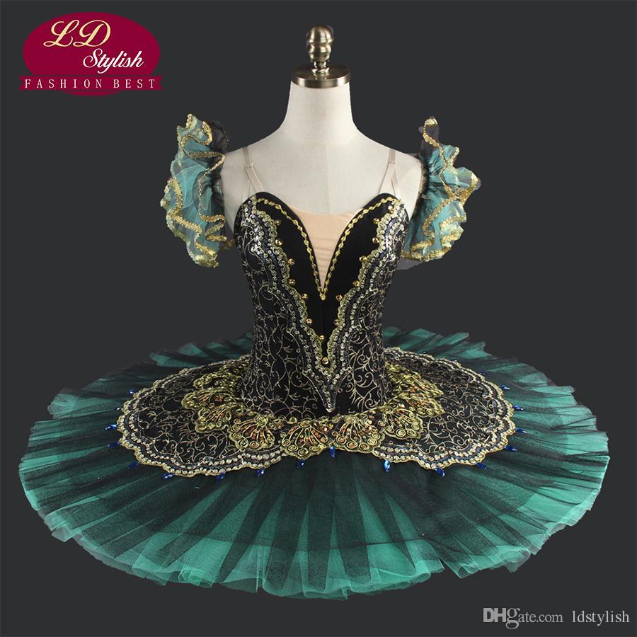 Black Professional Ballet Tutus Girls Ballet Tutu Professional Ballet Tutu Black Green Professional PancakeTutus Green LD0014