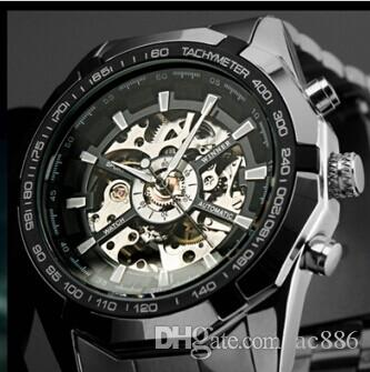 Cool Steampunk Fashion Male Mechanical Wristwatch Dress Men Watch Top Brand Luxury Automatic Skeleton Watch Black Leather Band Men's Watches