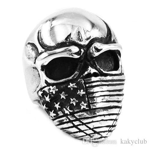 무료 배송! 미국 국기 Infidel 해골 반지 스테인레스 스틸 쥬얼리 클래식 빈티지 모터 바이커 해골 남자 반지 도매 SWR0368