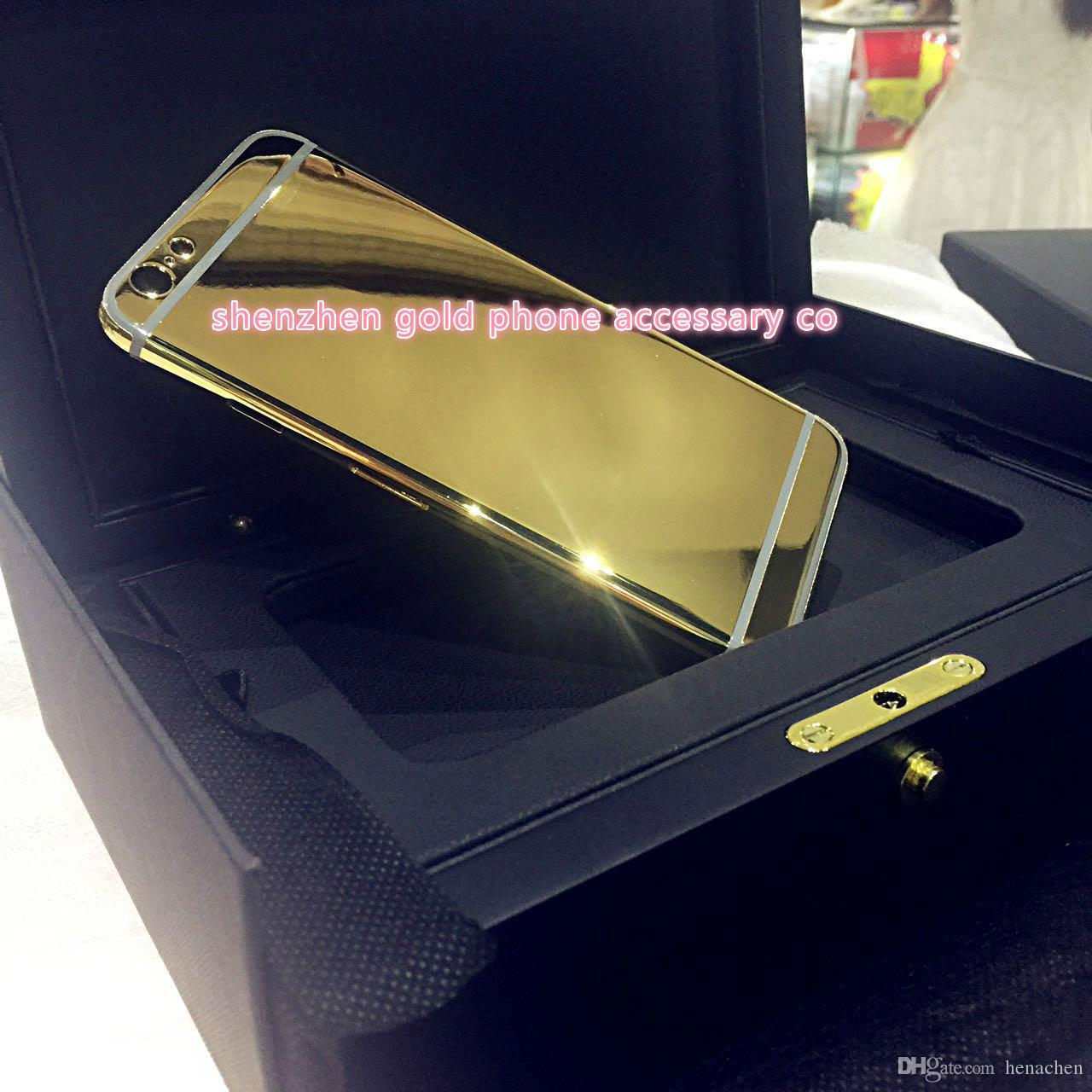 24K Gold Plating Back Housing Cover Case Skin Battery Door For iPhone 6G 6 plus 5S 4S 5 4 Luxury Limited Edition 24Kt Bezel Frame Faceplate