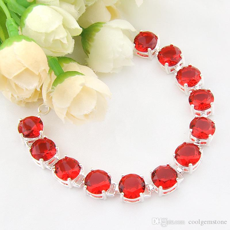 new fashion 2018 brand elegant gemstone garnet spar 925 silver charm bracelet bohemian charm bracelet bangle B1107
