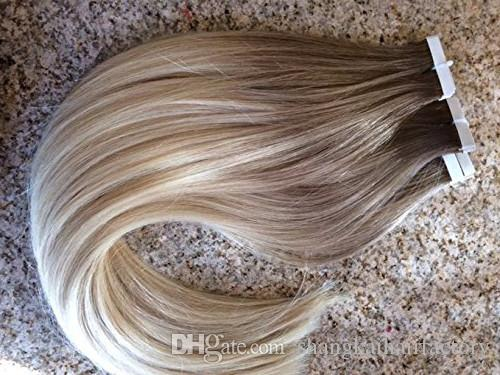 Ombre #6/613 16- 24 inch Glue Skin Weft PU Tape in Human Hair Extensions Brazilian REMY Hair To USA