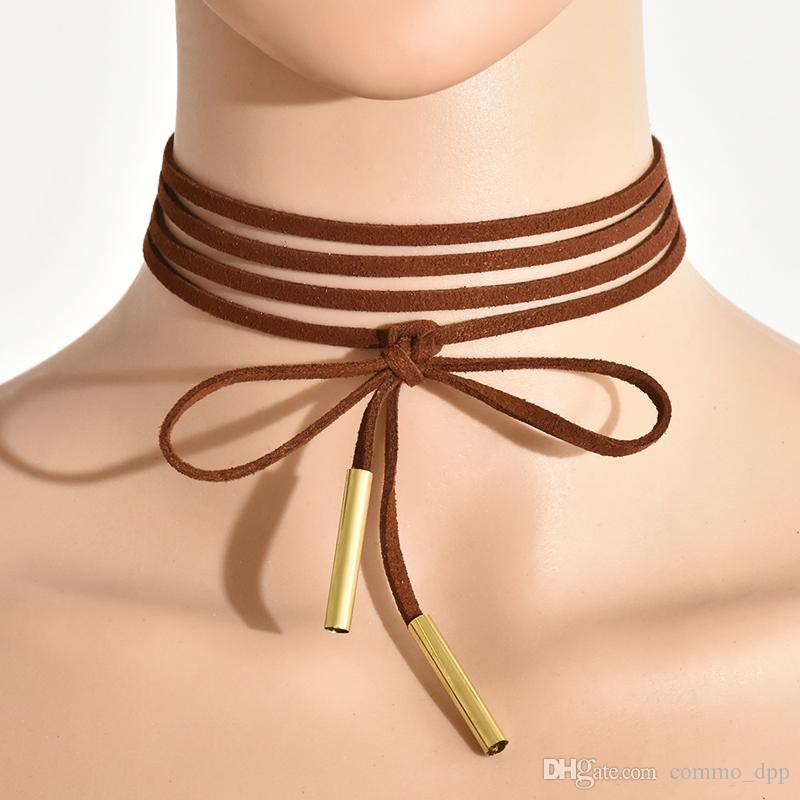 es Minimalista de terciopelo Gargantillas En Capas larga pajarita cuello tops collar ajustable Para las mujeres Señoras Accesorios de Joyería de Moda