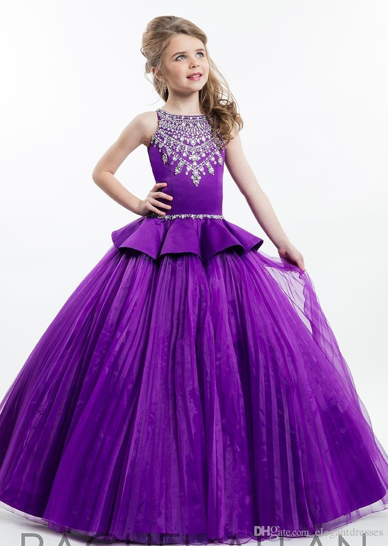 2021 Rachel Allan Lila Ballkleid Prinzessin Mädchen-Festzug-Kleider funkelnde wulstige Kristall-Blumen-Mädchen-Kleider Größe 12