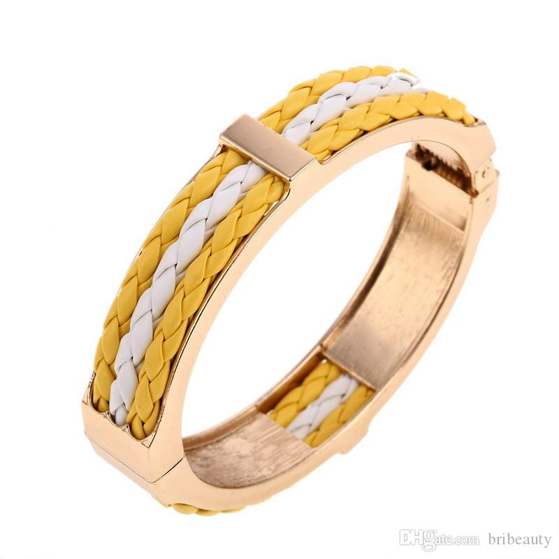 f0e2823c94d Hot Gold Metal Hinge Bracelet With Colour Leather Rope Punk Wind Spring  Leather Open Flat Bracelet 1.28CM Wideth High Polish PU Hinge Bangle Silver  Bangle ...