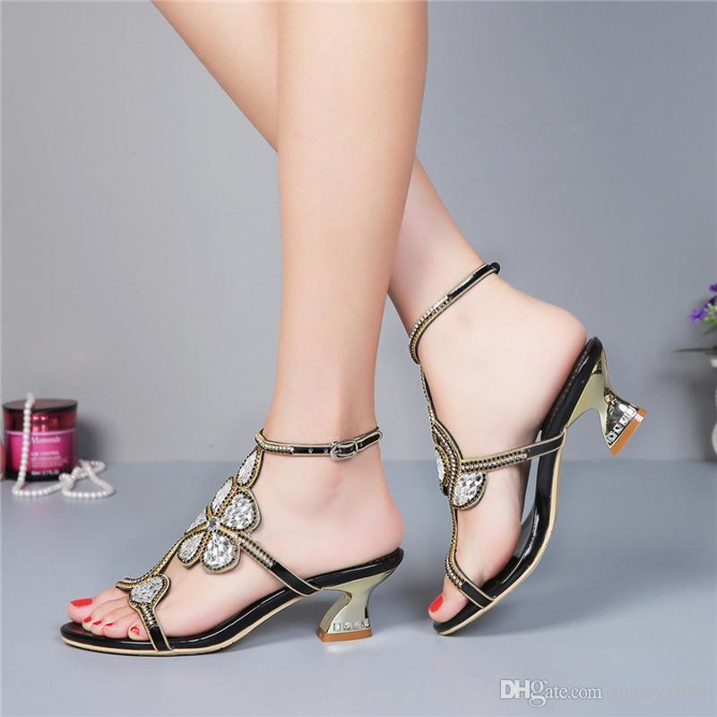 Tacchetto a spillo oro sposa strass Sandali con laccio dietro al partito confortevole Dancing Shoes tacco grosso 2 pollici Summer Dress Shoes