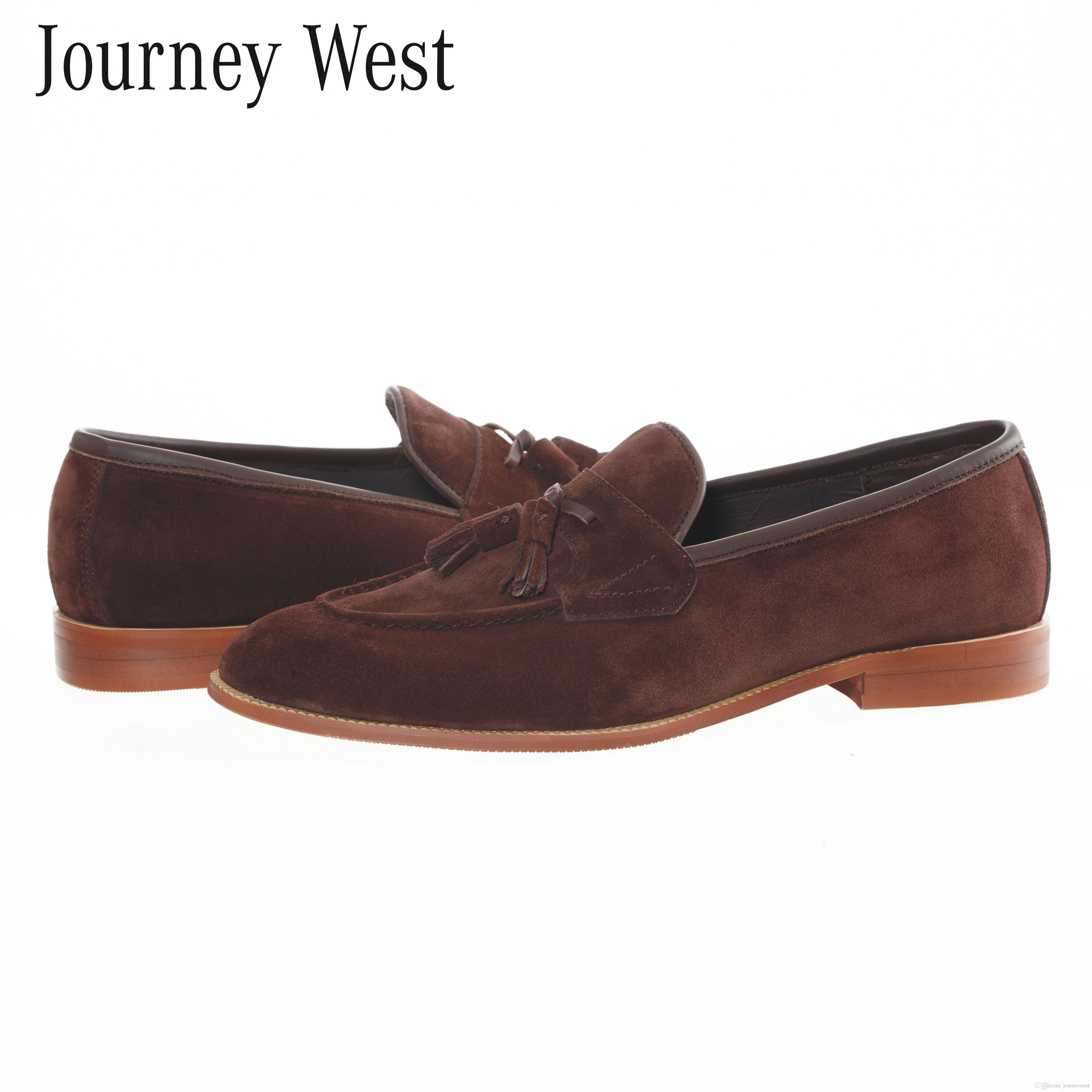 Großhandel Handgemachte Männer Brown Echte Wildleder Leder Quaste Loafers  Designer Schuhe Slip On Herren Wohnungen Britischen Kleid Formale Schuhe  Plus ... 62a3277820