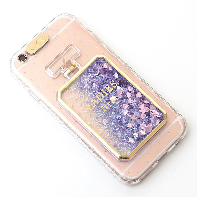 Más caliente Liquid Glitter Quicksand Bling 3D de botellas de perfume con función Flash On Ring para iPhone 6S / 6S Plus 7/7 Plus