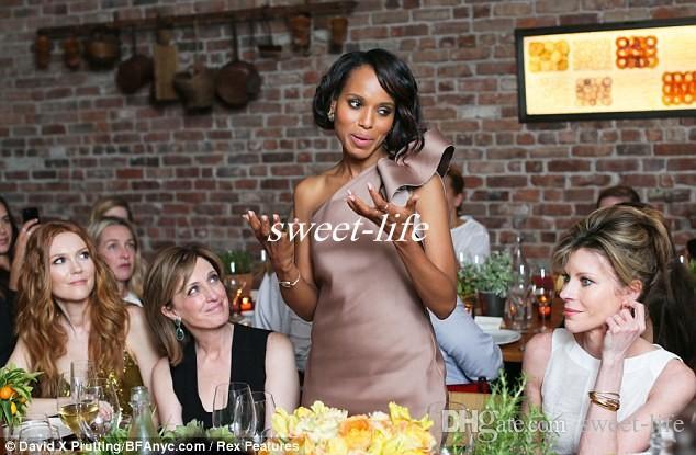 Nuovo vestito da celebrità Kerry Washington Abiti da damigella d'onore Una spalla Bow Satin Lunghezza al ginocchio Guaina Abiti da cocktail Club 2019