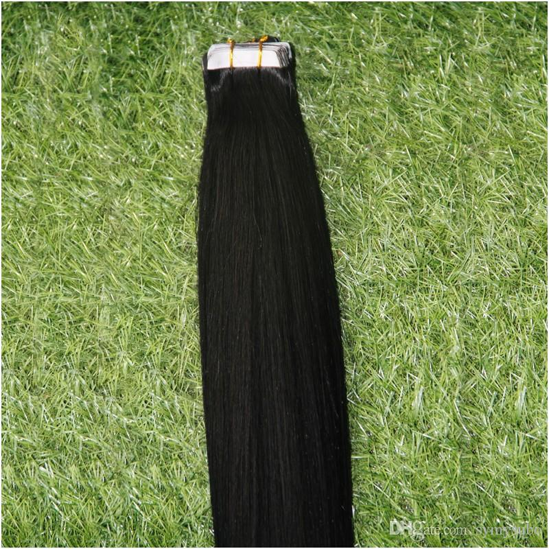 Cheap Tape Hair Extensions 10-30 Inch #1 Jet Black Hair,Grade 6A Virgin Silky Straight Brazilian PU Skin Weft Hair