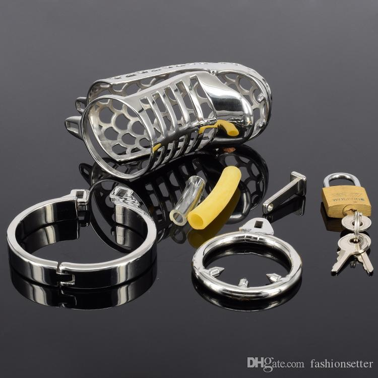 New design chastity cage snake shape cock cages for bdsm with spike rings 85mm length chastity cb stainless steel cock cage 3.3""