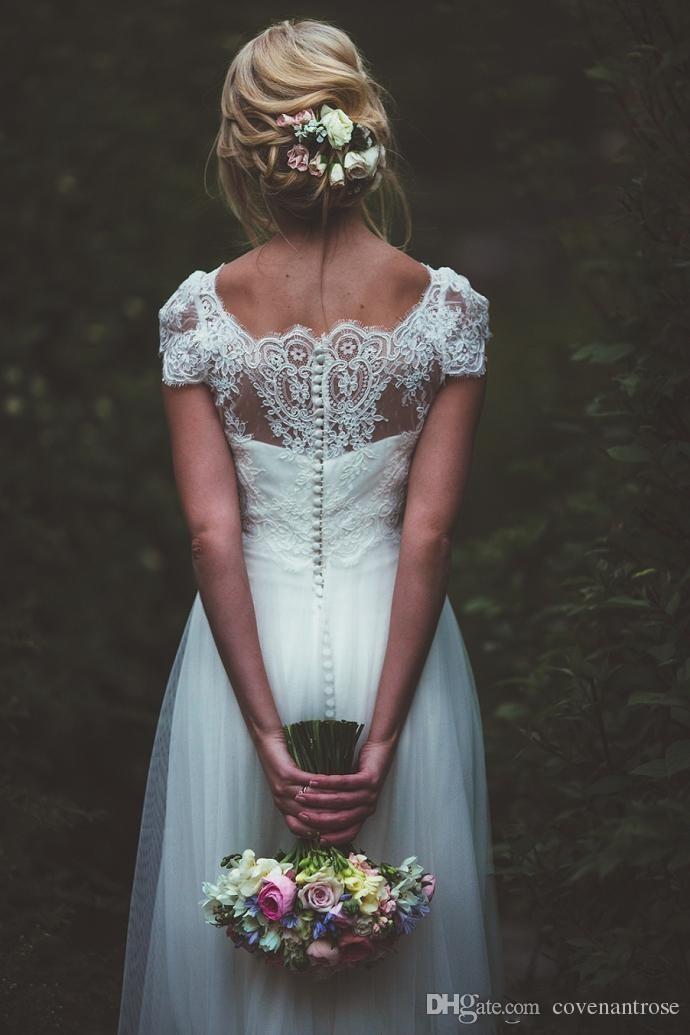 Long Contury Wedding Dresses Cheap Beach Vestido De Novia Forest Short Sleeves Scoop Neck Button A Line Boho Bridal Gowns