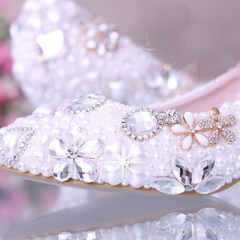الفاخرة الأنيقة اللؤلؤ التقليد فستان الزفاف أحذية أحذية الزفاف الكريستال الماس 2 بوصة كعب منخفض المرأة الأزياء مضخات سيدة اللباس أحذية
