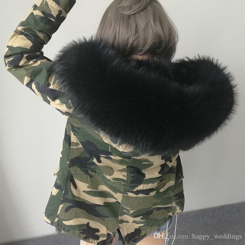 2017 Nuevas Mujeres de Invierno camuflaje Verde Del Ejército Chaqueta Abrigos Gruesos Parkas Plus Size Real Cuello de Piel de Mapache Con Capucha Outwear