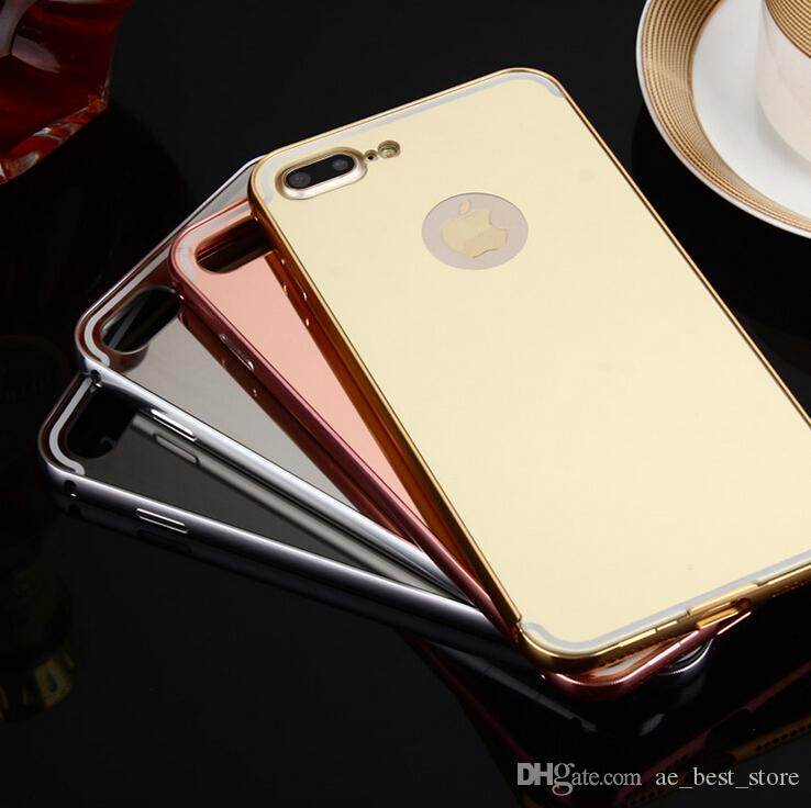 mirror iphone 7 plus case. luxury mirror case for iphone 7 6 6s plus 5 5s se 2 in 1 hybrid aluminum meal frame plating cover apple iphone