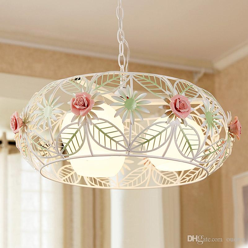 Country Rustic Dining Room Ceiling Pendant Lamp Metal Cage Pink Ceramic  Rose Balcony Hang Lamp Bar Counter Bedroom Hanging Lighting Fixtures Pendant  Ceiling ...