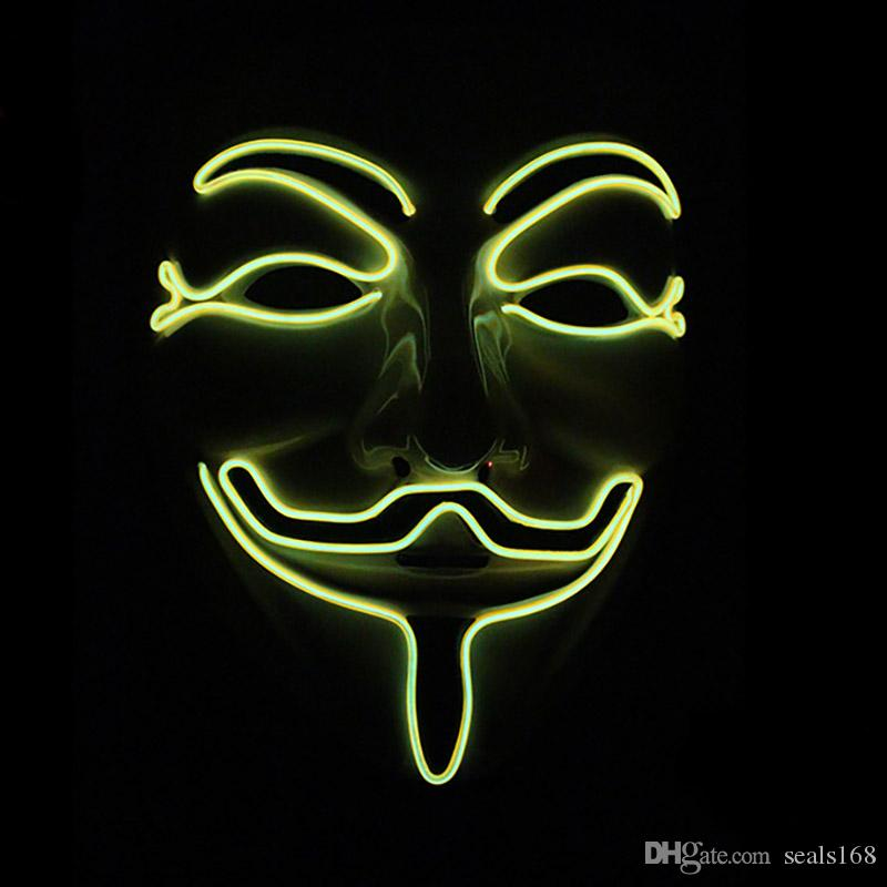 LED Halloween Masks V Word Hatred Mask EL Wire Glowing Mask Masquerade Full Face Masks Halloween Costumes Party Gift HH7-152