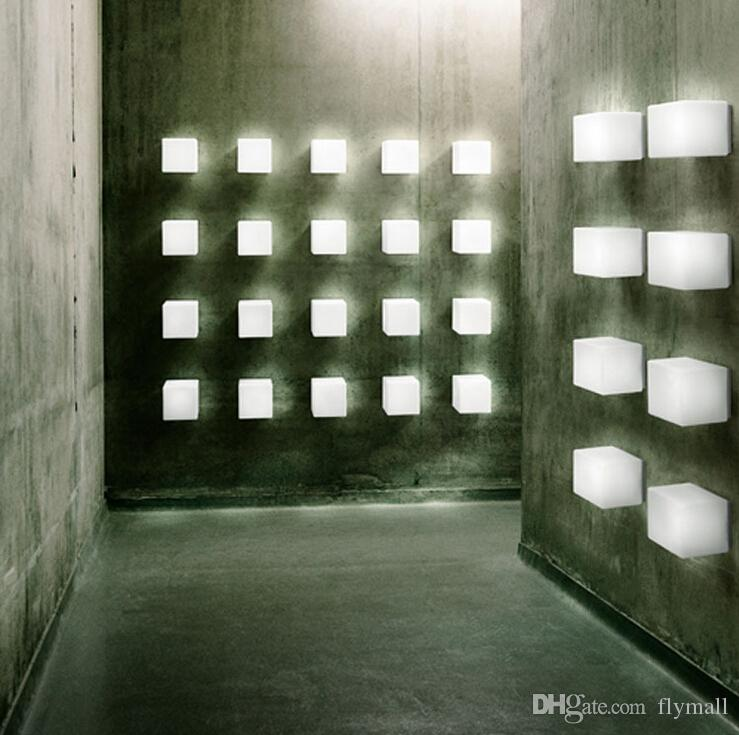 New LED Sugar Ice Cube Wall Lamp White Glass Ceiling Light Background Light Bar/Asile Ice Brick Lamp Backdrop Light Indoor Wall Light
