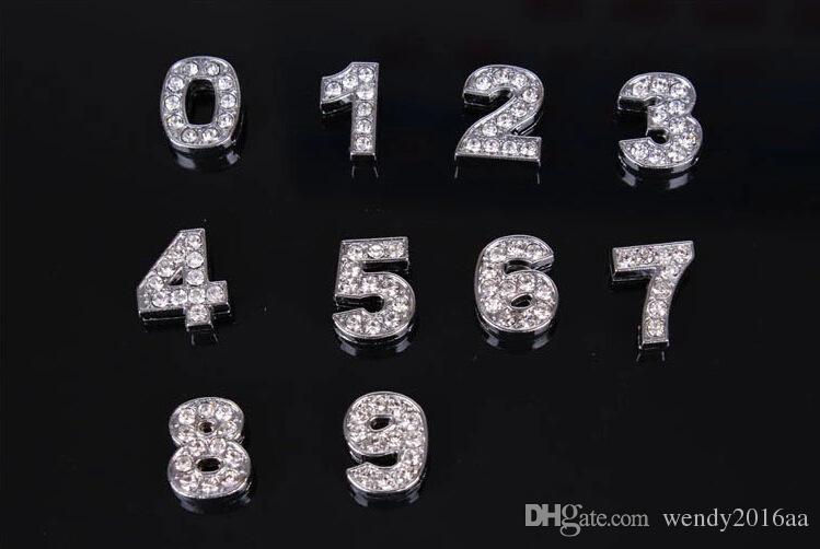 DIY Pulseiras 8 MM Contas Soltas A a Z Letras de Prata Lotes de Strass Acessórios de Jóias Carta Slide Charme Pulseira