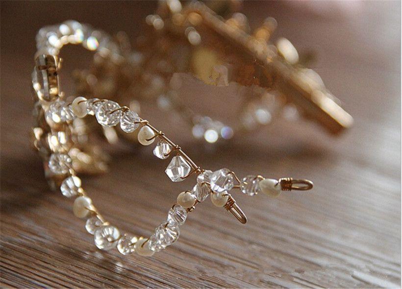 Headpieces Wedding Bridal Gold Hair Accessories Clips Tiara Headband Freshwater Pearl Band Jewelry Crystal Rhinestone Hair Jewelry Crown