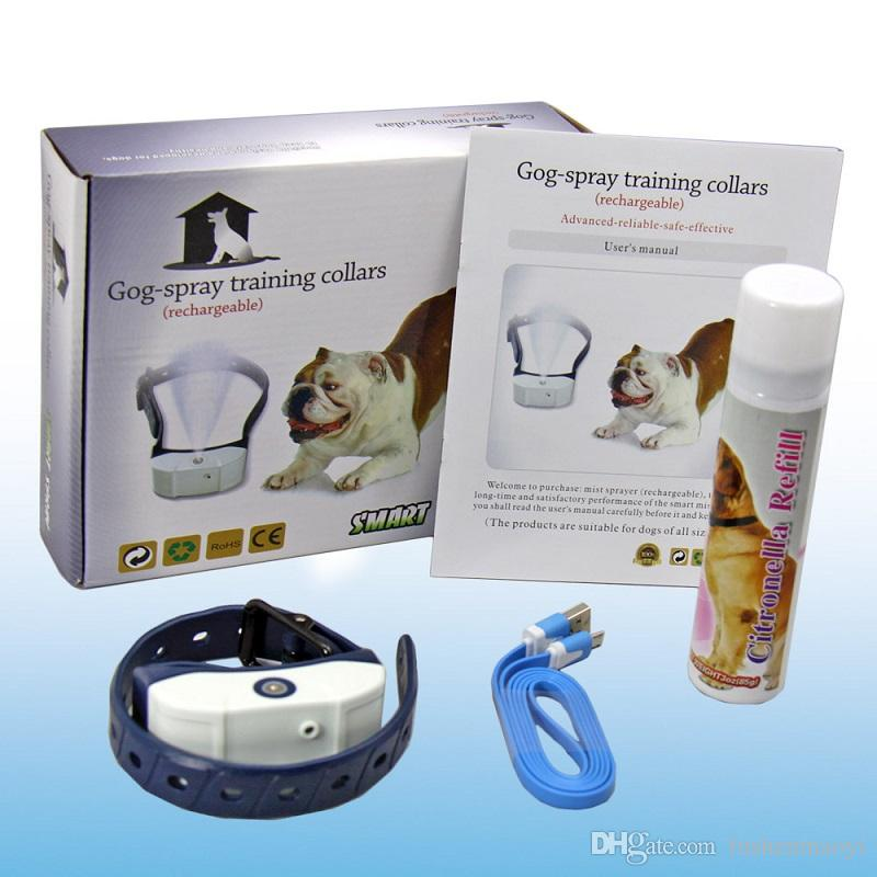 Newest pet supplies Dog Training Collar Citronella Spray Dog Barking-stop device Smart Spray Li-battery rechargeable Spray volume adjustable