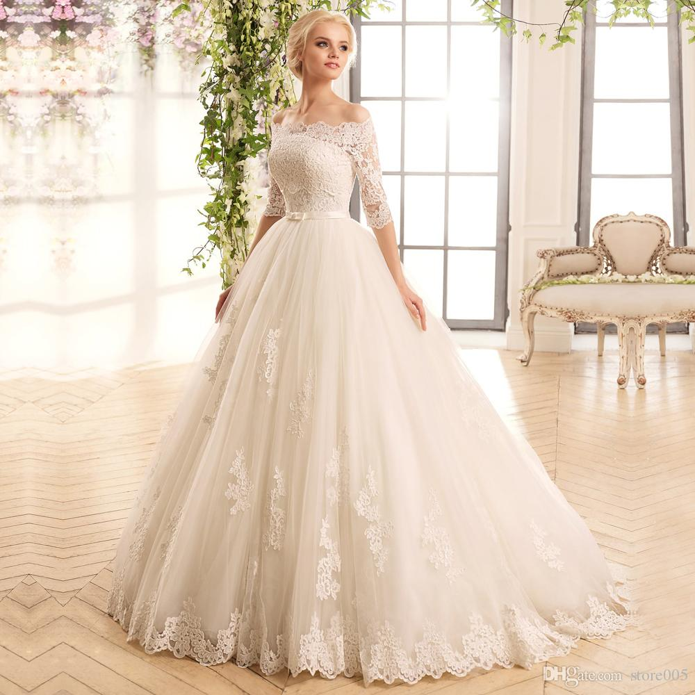robe de mariage elegant lace wedding dress ball gown with 3 4