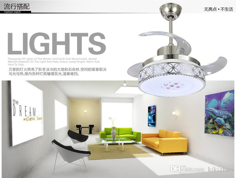 LED Ceiling Chandelier Fan Lights Deluxe Collapse Remote Control Lamp Restaurant Invisible